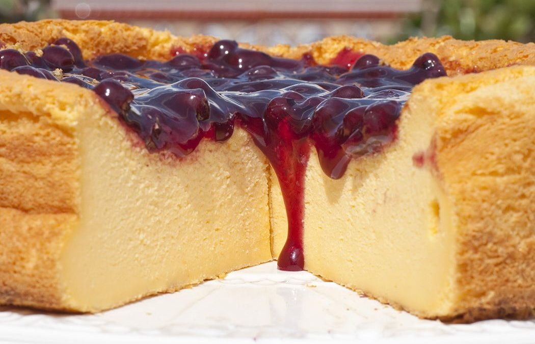 Tarta de queso de Mahón con mermelada de albaricoque