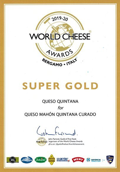 diploma medalla super gold cheese awards queso quintana curado